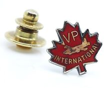 VP International Sterling Lapel Pin Red Maple Leaf Canadian Military Aviation