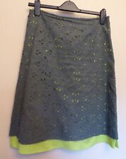 Monsoon UK10 EU38 US6 100% cotton green broderie skirt with bright green lining