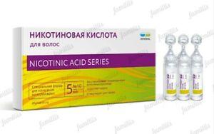 Nicotinic Acid Hair Stimulant Growth & Strengthening Moisturizes 10ampoulesX5ml