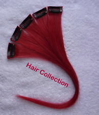 "12""Red - Human Hair Clip on in Extensions for Highlight"