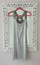 H&M X Versace Plata Cota De Malla Vestido, Size UK 12-14 Nuevo