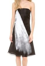 NWT VERA WANG Collection Strapless Black Dress White Painted Brushstroke Sz 2