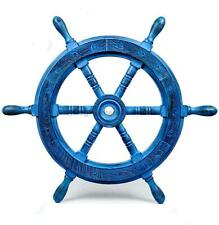 """18"""" Rustic Vintage Dark Blue Premium Torched Hand Crafted Pirate's Nautical Ship"""