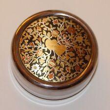 "Reed & Barton Damascene Silverplate 2.5"" Round Heart & Flowers Trinket Box Euc"