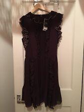 BNWT Next Size 18 Purple Pleated Frill Dress RRP £100 (BOX 7)