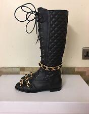 Moschino COUTURE Negro 25 mm cadena de cuero acolchado rodilla botas talla 36 3/EU Reino Unido