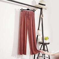 Women's Loose Silk Suede Wide Leg Pants Full Length Velvet High Rise Trouser Sb