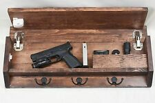Rustic Wood Coat Rack Hidden Storage Compartment Gun Safe with magnetic lock