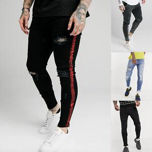 Sik Silk Mens Skinny Designer Stretch Fashion Ripped Freyed Distress Denim Jeans