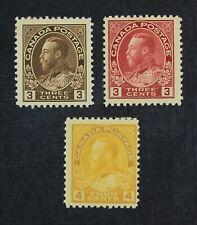 Ckstamps: Canada Stamps Collection Scott#108 109 110 George Mint H Og