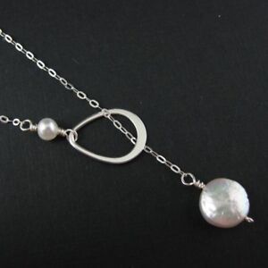 Sterling Silver Lariat Necklace with Coin Fresh Water Pearls & Teardrop Charm