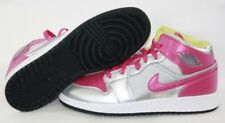 NEW Girls Kids Youth Air Jordan 1 Mid 555112 037 Silver Pink Sneakers Shoes