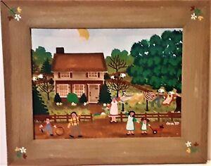 Folk Art Painting Laundry Day Original on Canvas by Dona Douma 1987 Signed