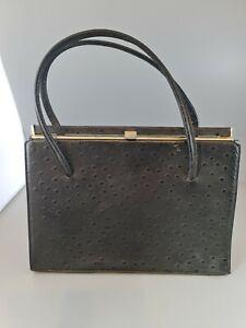 vintage ostrich print ? black  handbag bag,Kelly bag see description
