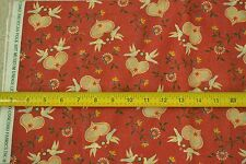 """By-the-Half-Yard, 42"""" Wide, Folk Art on Rust Quilter's Cotton, Concord, M6693"""
