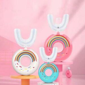 Cute Dinosaur Donut Shape Kids U-shaped Silicone Toothbrush Children Aged 2-12*