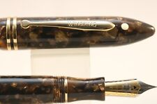 Wing Sung No. 626 Golden Brown Pearl Fine Fountain Pen with Gold Trim, Case