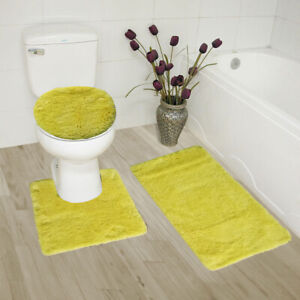 3 Piece Ultra Soft Ultimate Microfiber Bath Rug Set. (Yellow)