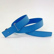 Handmade 32mm Reversible calf leather belt Blue Size 90 Free Shipping