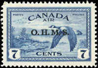 "Canada Mint NH 1946 VF Scott #CO1 7c Overprinted ""OHMS"" Air Mail Stamp"