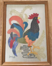 VINTAGE RETRO 60s LARGE EMBROIDERED ROOSTER BIRD APPLIQUÉ PICTURE GLAZED SIGNED