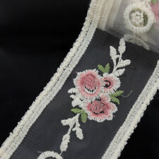 2 Yards Embroidered Floral Lace Trim Bridal Dress Sash Ribbon Tulle DIY Sewing