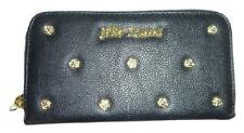 Betsey Johnson Smell the Roses zip around black wallet/clutch NWT