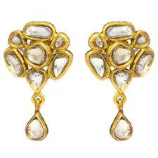 22k Gold 1.3ct Rose Cut Diamond Floral Style Drop Dangle Earrings Ethnic Jewelry