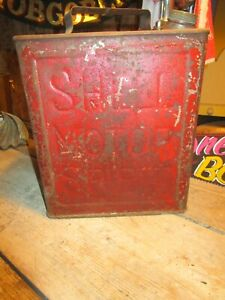Vintage SHELL RED petrol can prop ideal mancave garage etc NO LID
