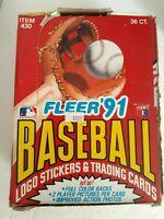 1991 Fleer Baseball Hobby Box  36 unopened Packs Ken Griffey jr. Nolan Ryan MLB