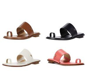 Women MK Michael Kors August Slide Flat Toe Ring  Sandals Leather