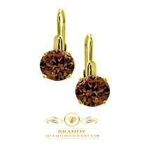 Yellow Gold Silver Solitaire Earrings Brandy Diamondorables® Chocolate Brown 18K