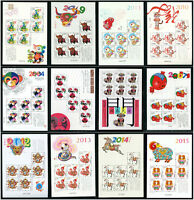 CHINA 2004-1  2015 -1 小版 大全 New Year Full Mini S/S x 12 Monkey Rooster stamp