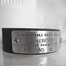 """Real Leather Cuff Handmade Personalised """"...believe in heroes.."""" Unique Dad Gift"""