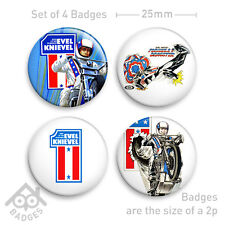 "Evel Knievel STUNT CYCLE Ideal -1"" Badge x4 Badges NEW"