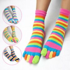 Sports Casual Womens Cotton Colorful Striped Soft Warm Five Finger Toe Socks