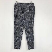 Lisette Montreal Navy Blue & White Dot Print Pull On Slim Fit Pants - US 12
