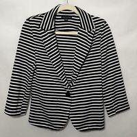 Women's Love Culture Blazer Jacket Black & White Striped 3/4 Long Sleeve Large