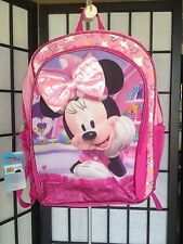 "Disney Junior Minnie Mouse Pink Multi-Color Sparkle 16"" Back Pack NWT"