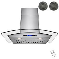 Akdy Wall Mount Range Hood 30 in. Arched Tempered Glass Remote Stainless Steel