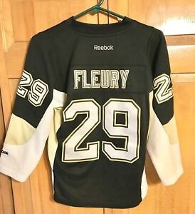 MARC ANDRE FLEURY #29 PENGUINS REEBOK AUTHENTIC BLACK/HOME JERSEY BOYS SMALL/MED