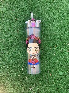 Frida Kahlo Skinny tumbler with straw and lid, 16 Oz. Viva La Vida Leather Bow