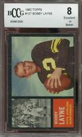 1962 topps #127 BOBBY LAYNE pittsburgh steelers BGS BCCG 8