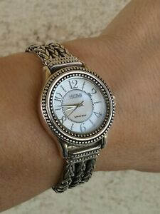 "Ecclissi Sterling Multi Strand Wheat Bracelet Watch MOP Dial 6 1/4"" New Bat RARE"