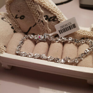 Stunning White Topaz & Ruby Tennis Bracelet in Platinum over Sterling silver