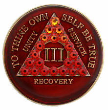 1 Year Red Transition Crystallized Sobriety Recovery Medallion