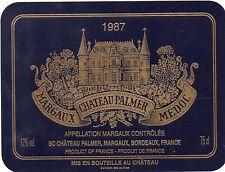 MARGAUX 3EME GCC VIEILLE ETIQUETTE CHATEAU PALMER 1987 73 CL   §16/09/16§