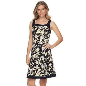 Women's Chaps Fit & Flare Shift Dress Black & White Sleeveless X-Large XL $95.00