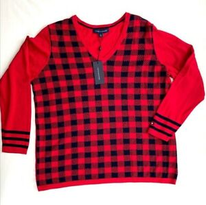 Tommy Hilfiger Cotton Sweater Top 1X Plus Size Red Black Buffalo-Plaid NEW