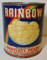 Old Vintage 1950s RAINBOW GRAPHIC BARTLETT PEARS TIN FLEMING TOPEKA KANSAS LGBTQ